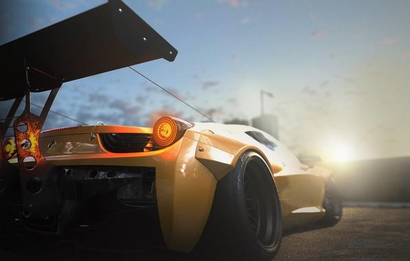 Картинка Ferrari, 458, Sun, Yellow, Tuning, Italia, Supercar, Wheels, Track, Spoiler, DRAG