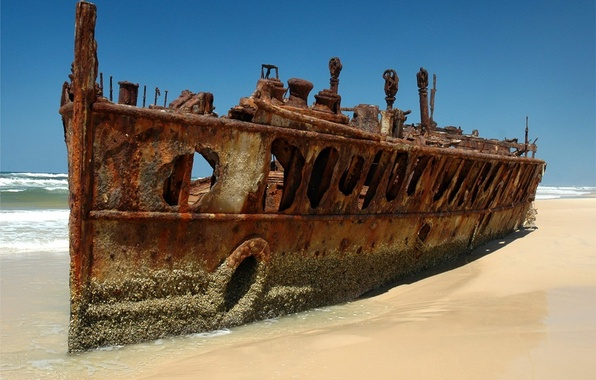 Картинка пляж, Корабль, остов, ржавчина