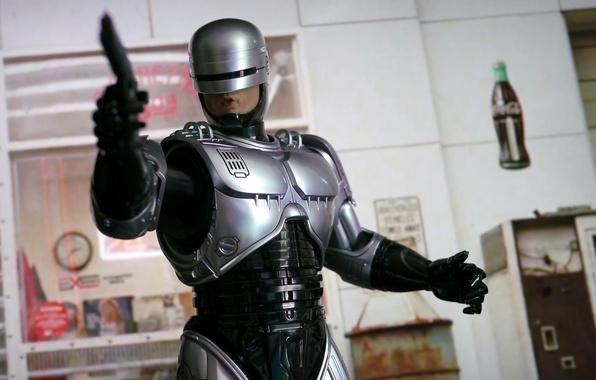 Картинка пистолет, оружие, фон, робот, броня, киборг, Робокоп, RoboCop