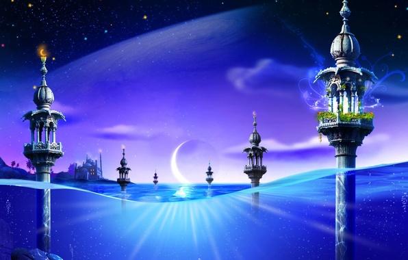 Картинка синий, фантазия, луна, Вода, башни