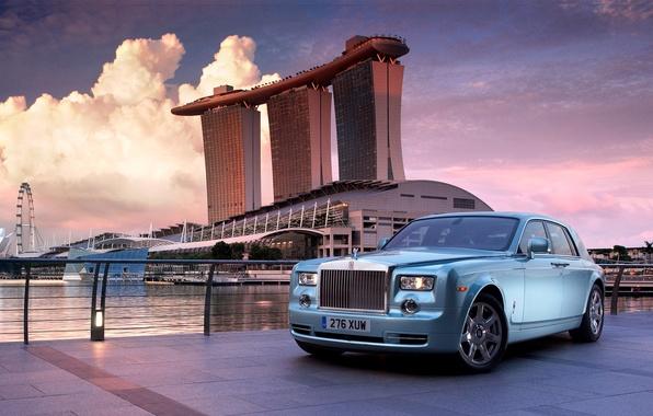 Картинка пейзаж, город, Rolls-Royce, Сингапур, лимузин