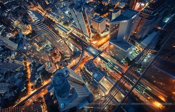 Картинка ночь, город, огни, выдержка, Таиланд, Бангкок
