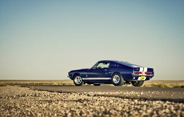 Картинка дорога, небо, пустыня, Mustang, Ford, Shelby, GT500, горизонт, колеса, сторона, задний фонарь, задний
