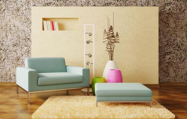 Картинка дизайн, интерьер, ковёр, кресло, стенка, декор, Interior design, вазы