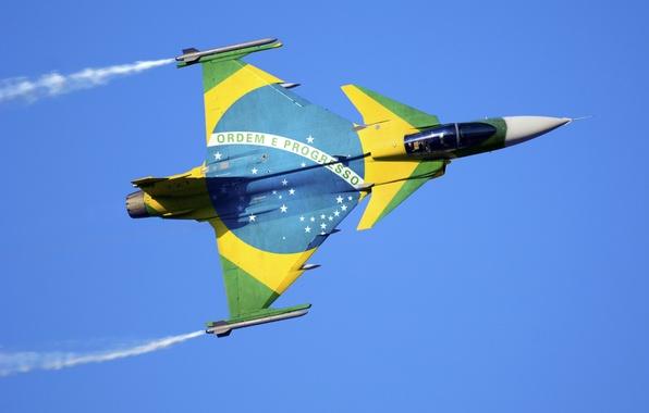 Картинка Saab, fighter, sky, aircraft, flight, stars, Air Force, plane, flag, Gripen, Brazil, British Aerospace, missile, …