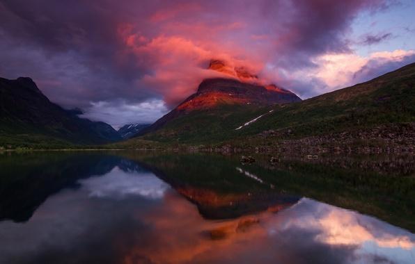 Картинка облака, свет, закат, горы, вечер, Норвегия, фьорд