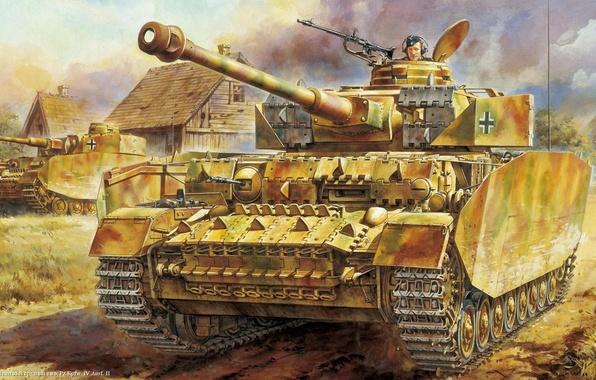 Картинка war, art, tank, ww2, german tank, panzerkampfwagen, panzer tank, panzer IV