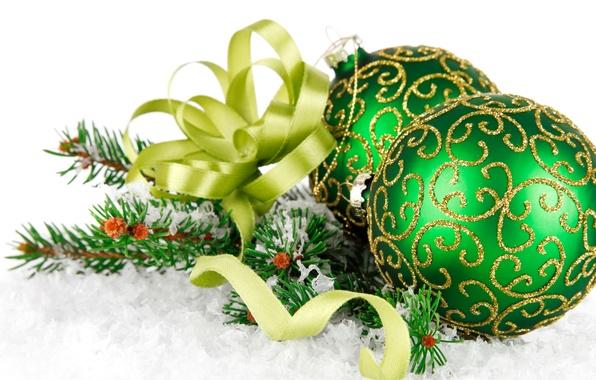Картинка снег, зеленый, green, елка, бант, зелёные, ёлочные, Christmas balls, green balls, шары с орнаментом, Christmas …
