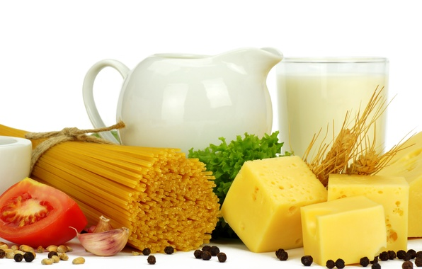 Картинка зелень, сыр, молоко, помидор, спагетти, чеснок, чёрный перец
