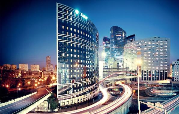 Картинка ночь, город, дороги, париж, дома, Paris, францыя