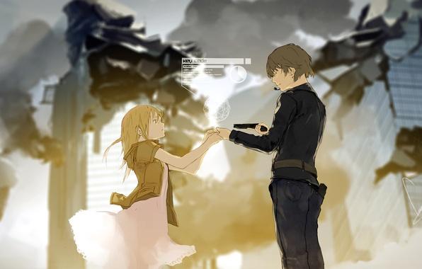 Картинка девушка, город, оружие, дым, дома, аниме, арт, микрофон, руины, парень, loundraw