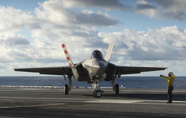 Картинка истребитель, палуба, бомбардировщик, Lightning II, F-35C