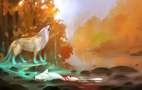 Картинка лес, вода, деревья, река, смерть, камни, кровь, волк, арт