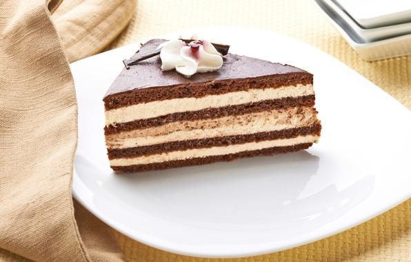 Картинка шоколад, тарелка, сладости, торт, пирожное, крем, десерт, сладкое, шоколадный, глазурь