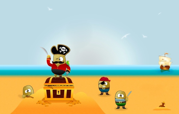 Картинка вектор, Пираты, клад