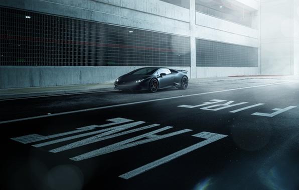 Картинка Lamborghini, Dark, Front, Black, Color, Road, Supercar, Wheels, Huracan, LP610-4