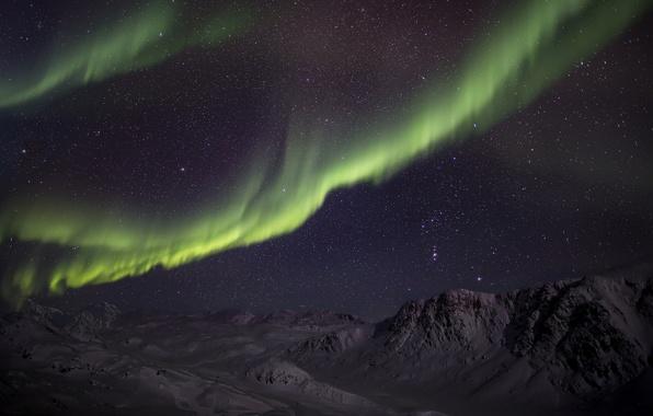 Картинка зима, звезды, снег, горы, ночь, северное сияние, зеленая, Aurora Borealis