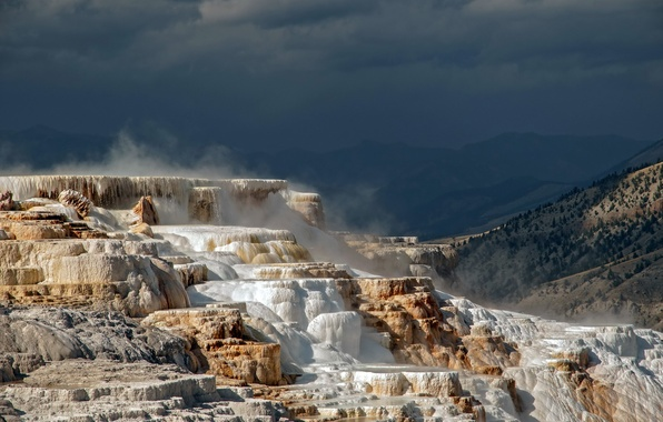 Картинка USA, Wyoming, Yellowstone N.P., Yellowstone terraces
