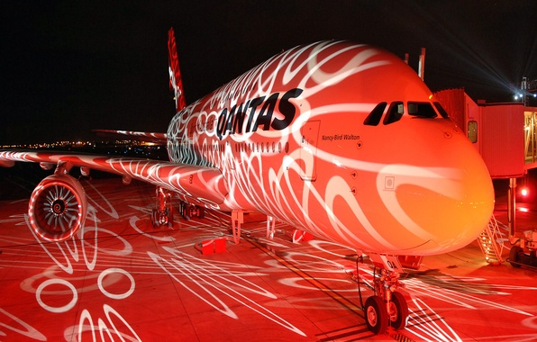 Картинка авиация, ночь, огни, самолет, боинг
