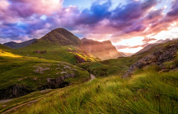 Картинка дорога, лето, небо, облака, горы, долина, Шотландия, Август, Хайленд, Гленко
