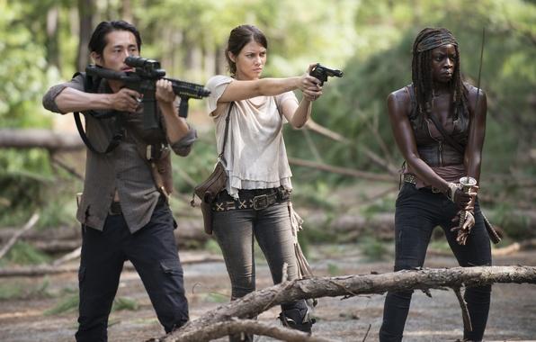 Картинка Maggie, The Walking Dead, Ходячие мертвецы, Стивен Юн, Michonne, Danai Gurira, Lauren Cohan, Гленн