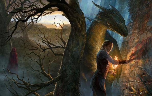 Картинка девушка, стена, дерево, дракон, фигура, арт, факел, плащ, The Beginning, иллюстрация к книге, The Legend …