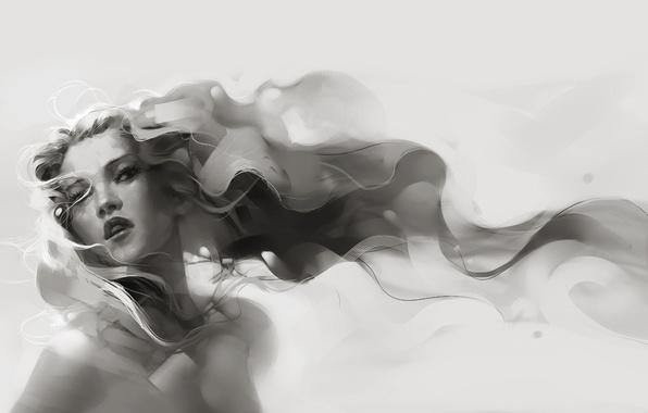 Картинка взгляд, серый, Девушка, длинные волосы