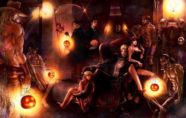 Картинка девушки, комната, череп, кресло, шляпа, демон, арт, монстры, тыквы, коса, парни, halloween, доспех, мумия, kyo-ra, …