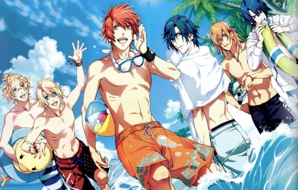 Картинка море, пляж, небо, вода, солнце, облака, капли, пальмы, океан, мяч, круг, полотенце, аниме, арт, очки, …