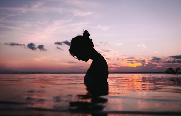 Картинка вода, девушка, спокойствие, силуэт, умиротворение