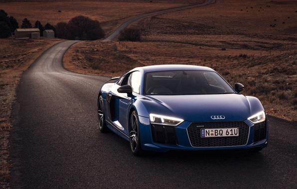 Картинка car, машина, Audi, фары, road, blue, передок, V10, Plus