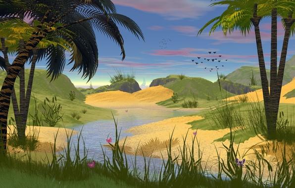 Картинка трава, вода, деревья, бабочки, птицы, природа, пальмы, рисунок, ручеек