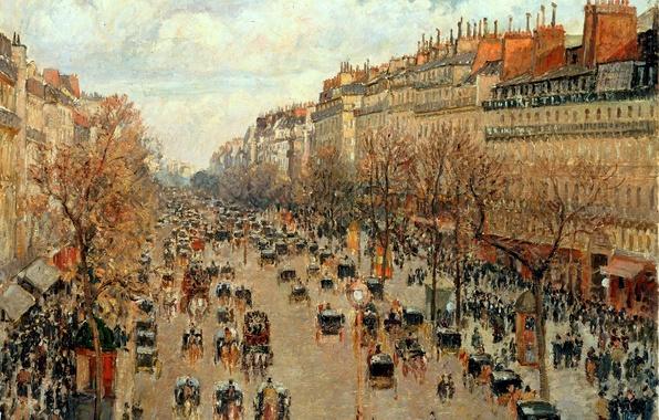 Картинка город, улица, Франция, картина, Camille Pissarro, Бульвар Монмартр в Париже