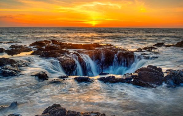 Картинка море, небо, закат, камни, побережье, горизонт, прибой, США, Oregon