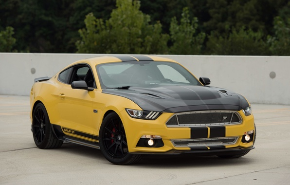 Картинка авто, желтый, Mustang, Ford, Shelby, шелби, передок, маслкар