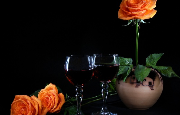 Картинка настроение, вино, розы, бокалы