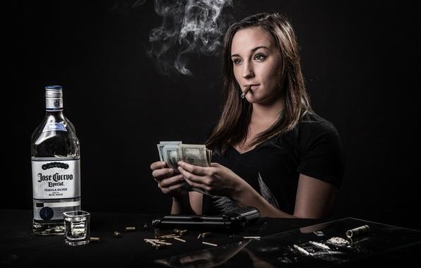 Картинка девушка, деньги, текила