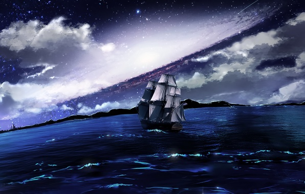 Картинка море, облака, ночь, корабль, парусник, плавание