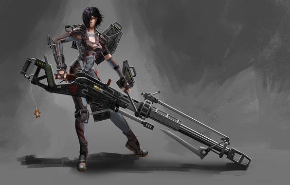 Картинка Девушка, доспехи, пушка, брелок, простой фон