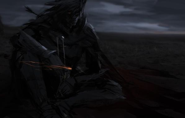 Картинка взгляд, меч, доспехи, воин, арт, мужчина, сидит