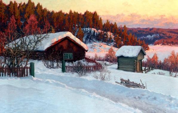 Картинка зима, лес, снег, деревья, пейзаж, дом, рассвет, холмы, забор, картина, деревня, сугробы, изба, Anshelm Schultzberg