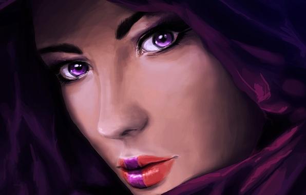 Картинка глаза, взгляд, девушка, лицо, арт, губы, капюшон, живопись, крупным планом