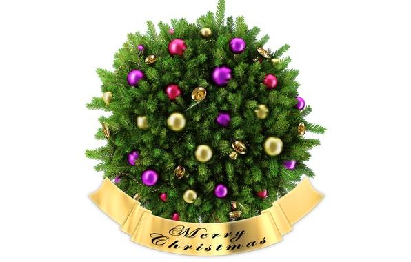 Картинка иголки, праздник, ветви, шары, игрушки, новый год, рождество, ель, new year, колокольчики, хвоя, merry christmas