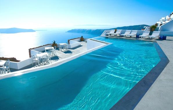Картинка море, бассейн, Санторини, Греция, отель