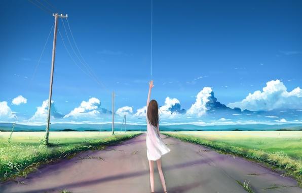 Картинка дорога, небо, девушка, облака, природа, столбы, провода, рука, аниме, арт, kia