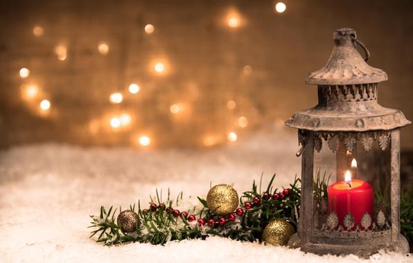 Картинка шарики, свеча, ветка, Рождество, фонарь, Новый год, боке