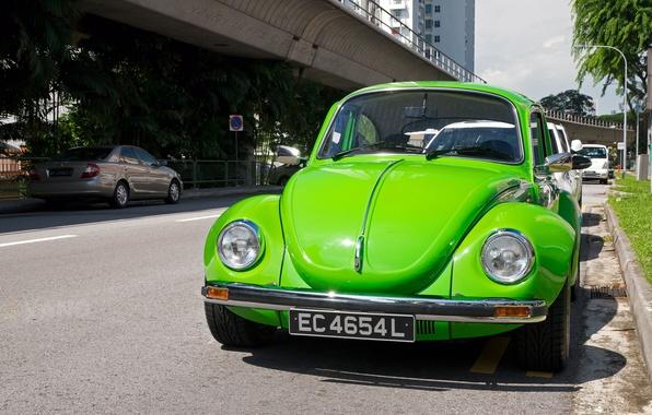 Картинка зеленый, жук, Volkswagen Beetle