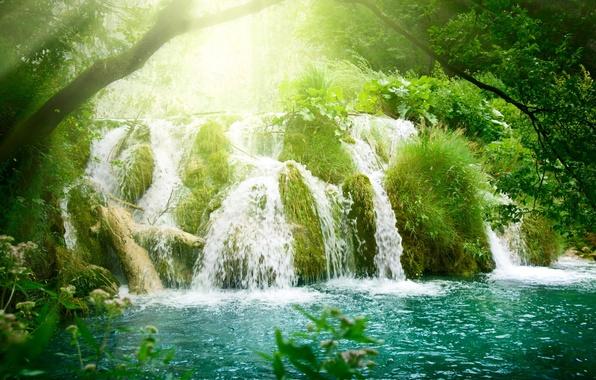 Картинка лучи, деревья, растительность, водопад, лазурь, солнца, Waterfall