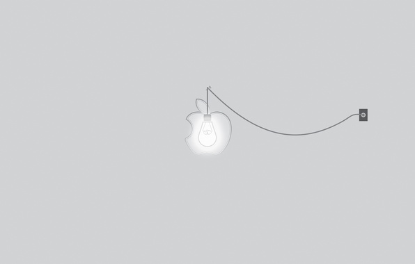 Картинка лампочка, свет, apple, минимализм, розетка, light, rose, гвоздь, minimalism, line, шнур, бренд, brand, 2560x1600, lamp, …