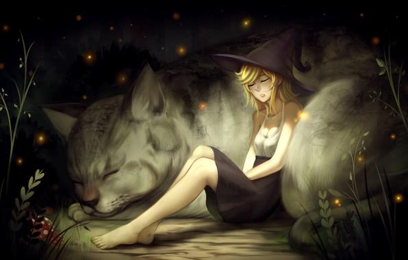 Картинка кошка, листья, девушка, природа, светлячки, животное, грибы, арт, ведьма
